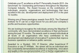 BCS Mauritius IT Awards 2013